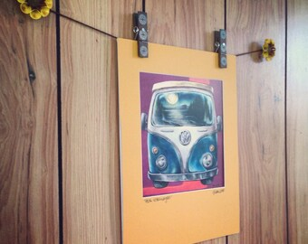 Adirondack Volkswagen Bus Matted and Signed Print, hippie art, wall art, wanderlust, adirondack art, Volkswagen art, Retro art, VW Westfalia