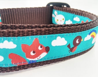 Friendly Skies - Dog Collar / Handmade / Adjustable / Pet Accessories / Fox