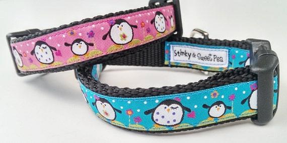 Happy Feet Dog Collar / Handmade / Adjustable / Pet Accessories / Penguins