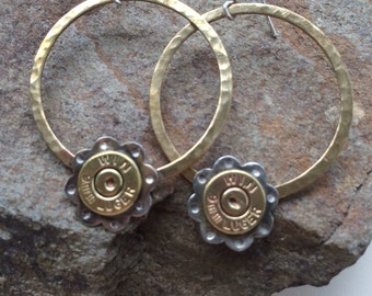 Bullet and Brass Hoop Earrings