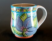 Handmade Pottery Mug,Hand Decorated Pottery, Majolica Mug, Coffee Mug- SKU149-10