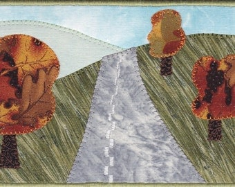 Autumn Road Trip Quilted Fabric Postcard