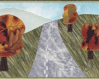 Handmade Autumn Road Trip Quilted Fabric Postcard