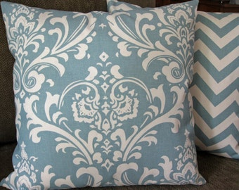 "Set of Two Decorative Pillow Covers, 18 inch, ""ZigZag""  in Village Blue and Cream Chevron Stripe Floral Print"