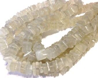 "White moonstone square heishi beads 7"" strand"