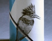 Hand Painted Kingfisher Portait Turquoise Vase Container