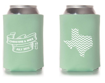 Custom Wedding Collapsible Can Coolers - Chevron State