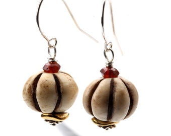 Dangling Pumpkin Earrings - Bone and Red Garnet Wired to Sterling Silver Ear Wire