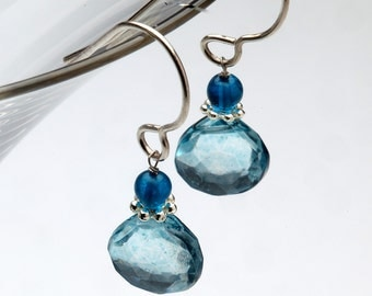 Dangling Blue Mystic Quartz Earrings with Sterling Silver Earwire