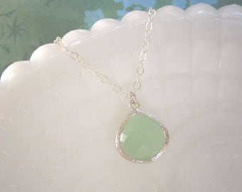 Fluorite Necklace, Silver Necklace, Grayed Jade Necklace, Pendant Necklace, Green Necklace