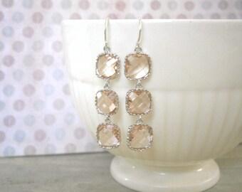 Blush Earrings, Bridesmaid Gift, Blush Champagne, Triple Glass, Silver Earrings