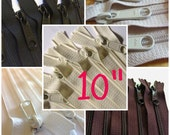 10 inch handbag zippers in colors of your choice, choose FIVE pcs, YKK white 501, black 580, vanilla 121, natural beige 572, dark brown 570