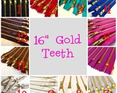 16 inch metal zippers, gold teeth, Choose 25 pcs, grey, brown, black, white, blue, turquoise, red, great for leather purses, dresses