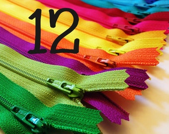 SALE, 12 inch bright YKK Zippers, black, royal blue, turquoise, aqua, red, pink, sunflower, orange, yellow, fuchsia, green, TWELVE pcs