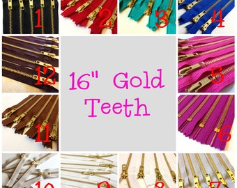 16 inch metal zippers, gold teeth, Choose FIVE pcs, grey, brown, black, white, blue, turquoise, red, great for leather purses, dresses