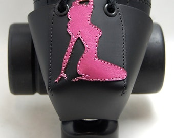Leather Toe Guards with Pink Pin-Up Girls