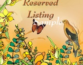 Instant Download Yellow Paradise Reserved Listing Place Holder for Your Etsy Store with Butterfly, Flowers and Bird