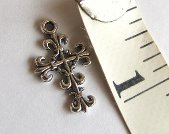 Fancy Cross Charms, Tibetan Silver Charms, Design both sides, Cross Charms, 10 pieces Item #1025