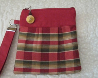 Red and Green Plaid Wristlet-Handmade