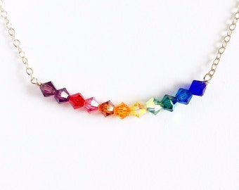 Rainbow Swarovski crystal necklace in sterling silver