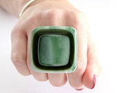 Cocktail Ring Statement Glass- big bold handmade fused glass ring - GO GREEN - 1.8 inch