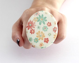 Fashion Ring Ceramic - big bold oversize handmade statement ring - SPRING HAS SPRUNG  -  2.5 inch