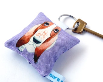 Bassett Hound dog printed fabric keyring keychain