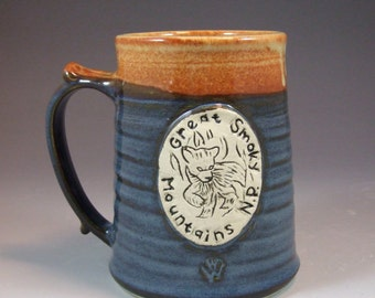 Wheel Thrown Great Smoky Mountain National Park Bear Cub Mug in Croc Blue and Shino (tan brown) Glazes