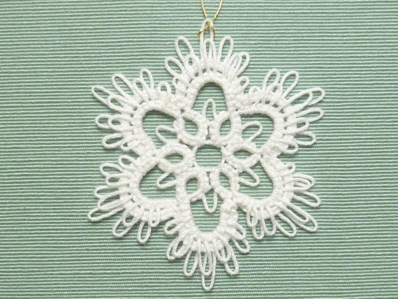Handmade Tatting Lace Christmas Ornament Snowflake -Frilly Flake -MTO color options