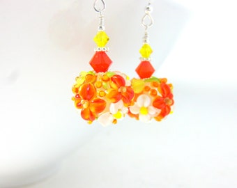 Floral Earrings, Orange Yellow White Earrings, Lampwork Earrings, Floral Jewelry, Flower Earrings, Autumn Earrings Glass Earrings Clara