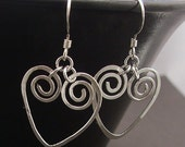 Spiral Heart Earrings, Hammered Hearts..Sterling Silver Heart Earrings