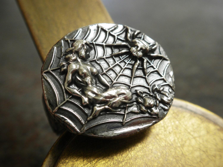 spiderweb statement ring mythology jewelry arachne spider web