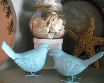 2 upcycled ~ Robin's Egg Blue Birds ~ Wedding topper love birds ~ Cottage chic decor