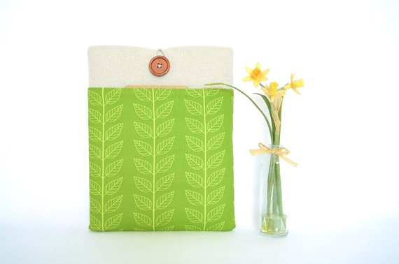 13 inch Macbook Pro Case or  MacBook Air Laptop Cover with Pocket - Leaves