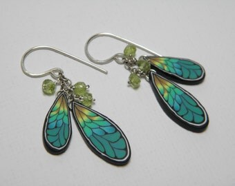 Dragonfly Wing Polymer Clay Millefiori Dangle Earrings with Peridot Gemstone Beads-sterling silver ear wires