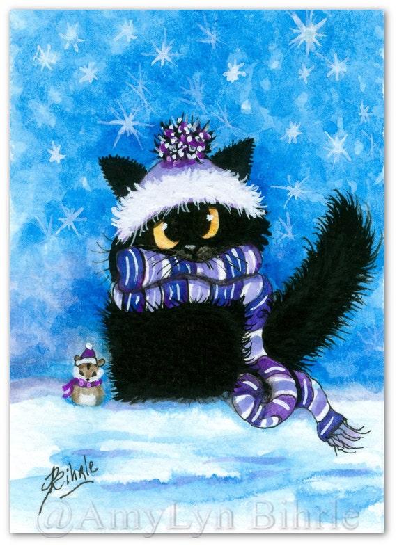 Black Cat Winter Hamster Pet Friend Art Prints By By