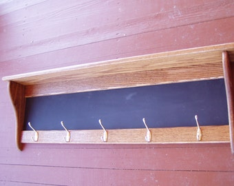 """Wood Coat Rack Wall Shelf Country Rustic Wall Hanging 42"""" Chalkboard Message Center"""