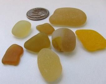 Yellow Seaglass - 8 Pieces