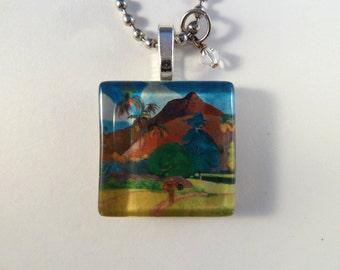 Tahitian Landscape 2 by Paul Gauguin Glass Tile Altered Art Pendant