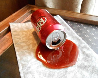 Fake Spilled Can of Pop Fun Gag Photo Staging Prop Dr. P