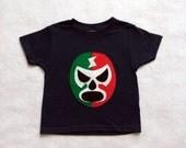 Mexican Wrestler Kids T-shirt - Luchador Rojo + Verde - Lucha Libre - Toddler T-Shirt - Black/Red/Green