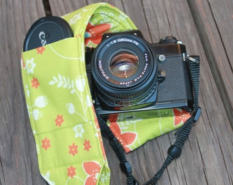 Ready to ship Monogramming not avaliable Wide Camera Strap for DSL camera Grass Green and Orange Floral with lens cap pocket