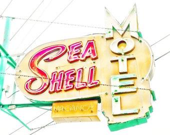 "Retro decor Jersey shore mint green pumpkin hip summer beach pastel ocean seashore - ""SeaShell motel"" 8 x 10"