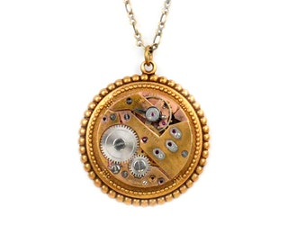 Vintage Rose Gold Watch Steampunk Necklace