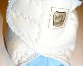 Cloth Diaper Zorb & Hemp sandwiched with Blue Micro polar fleece and Natural color cotton sherpa - Size Small