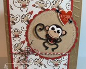 Stamped Stitched Embossed Happy Valentine's Day Card with Monkey