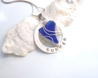 Hand Stamped Sterling Silver SUMMER Necklace with Beach Glass