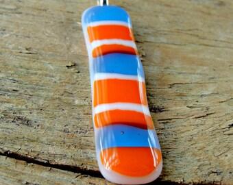 Striped Orange, Blue and White Fused Glass Pendant