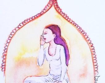 Yoga girl watercolor illustration flat note card