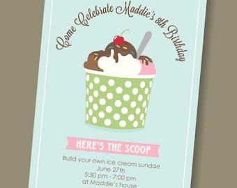 ice cream sundae - custom birthday invitation